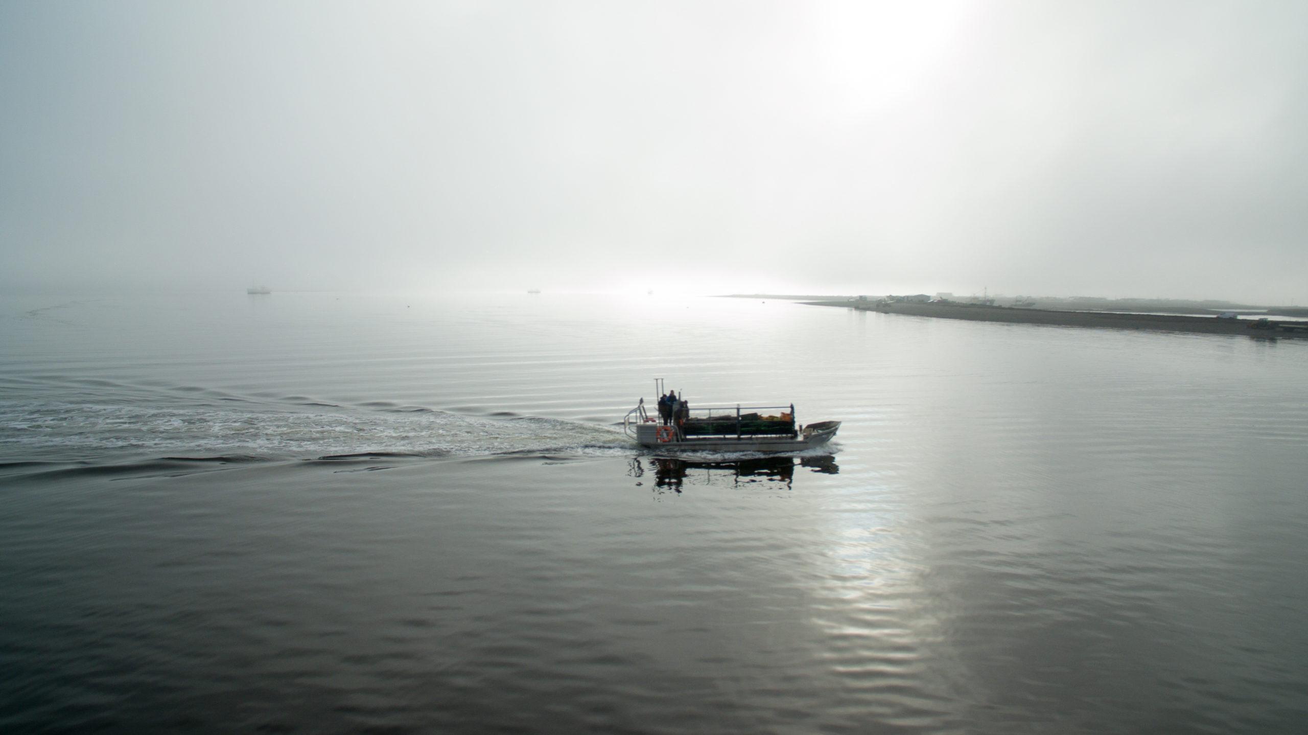 Cromane Bay Shellfish Boat out at sea